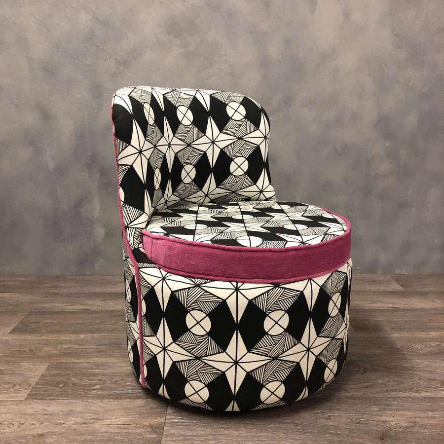 Tub chair for dressing table Reupholstered geometric and pink