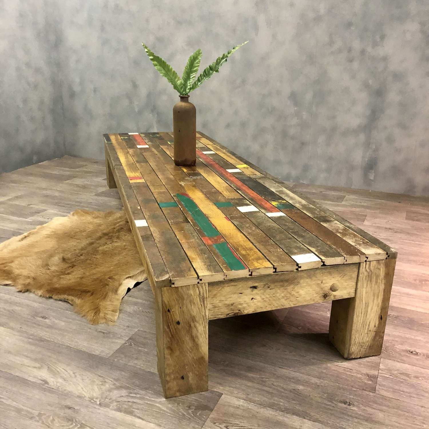 Reclaimed gymnasium floor low level oversized coffee table
