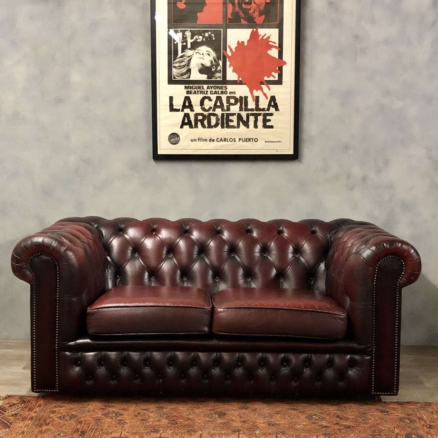 Classic Chesterfield leather sofa oxblood 2 seater