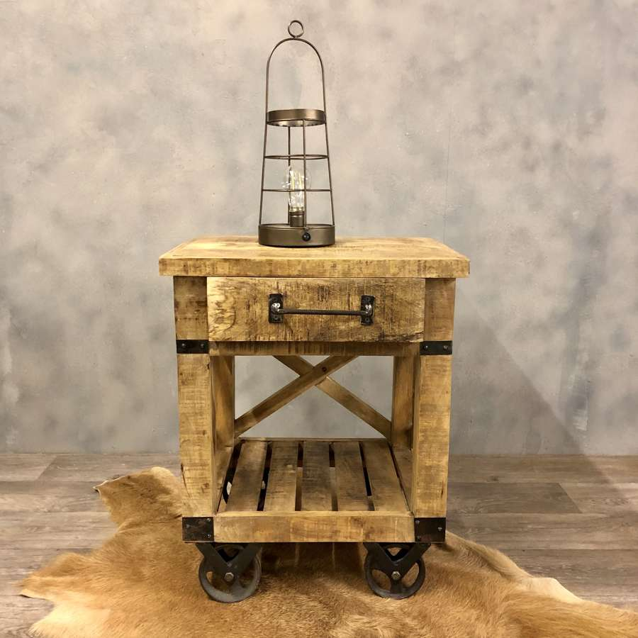 Industrial style trolley bedside table