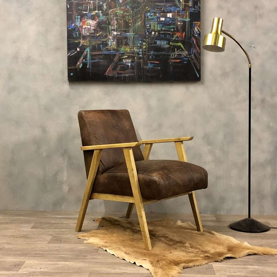Leather lounge chair midcentury style oak frame