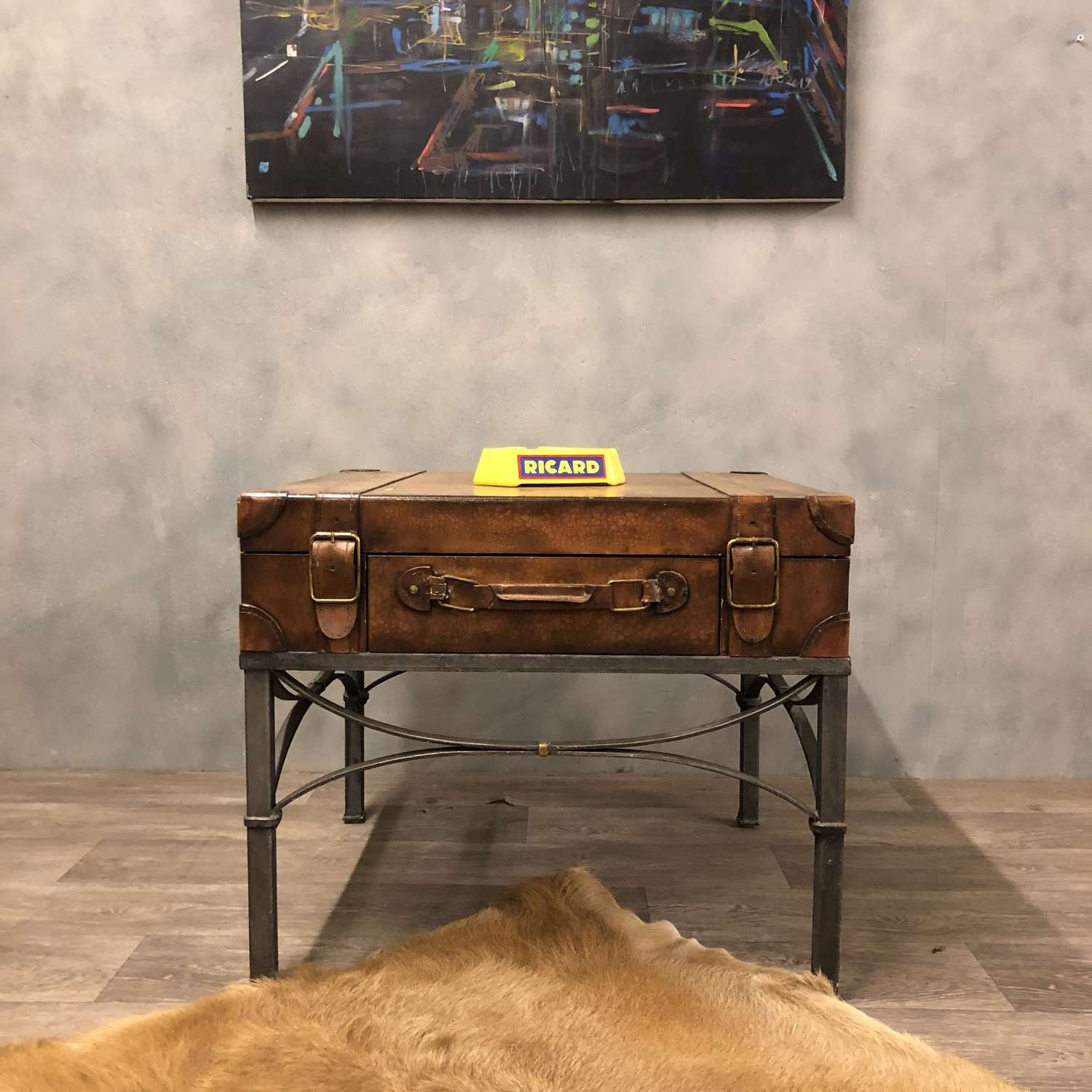Coffee table side table faux leather