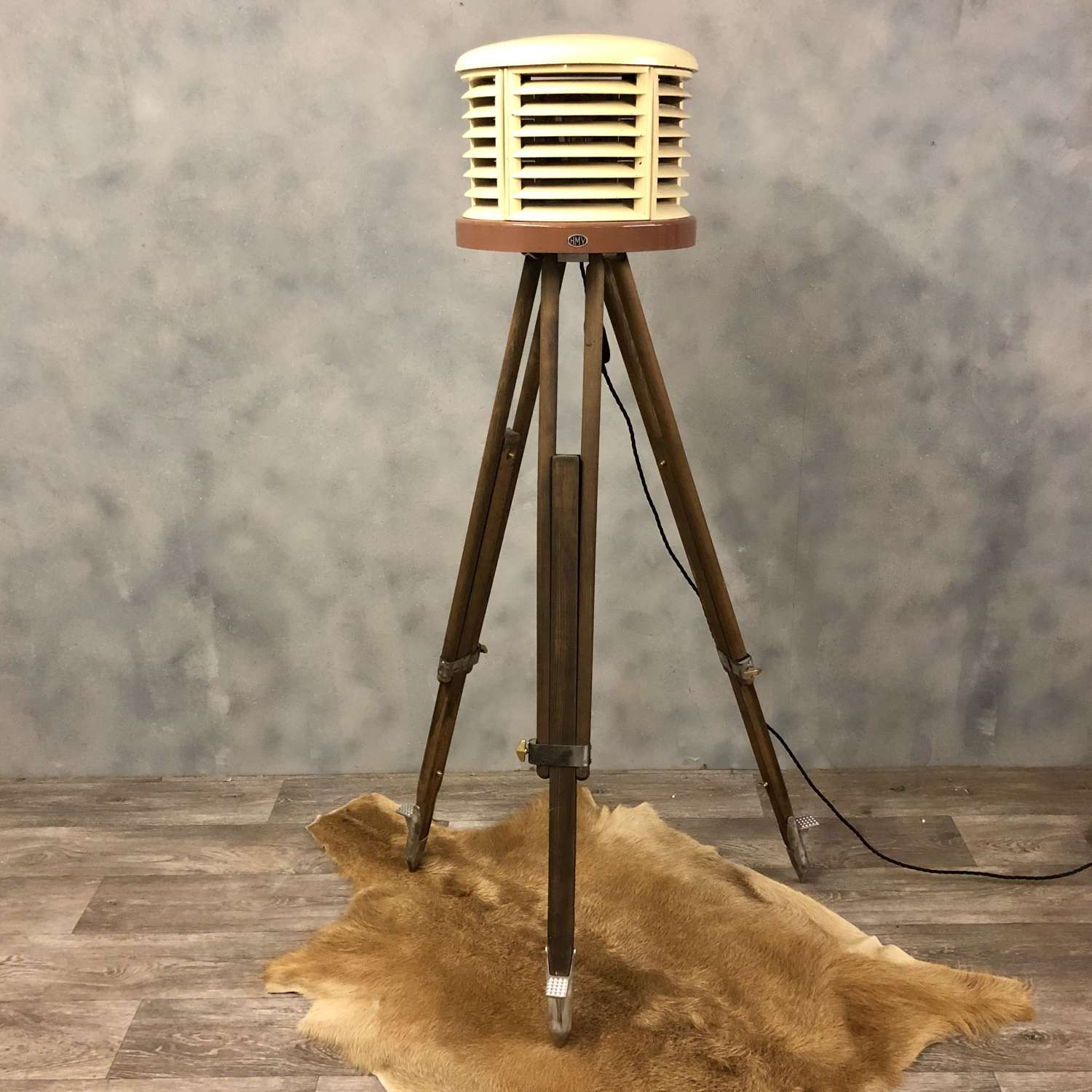 Converted HMV heater lamp and vintage tripod
