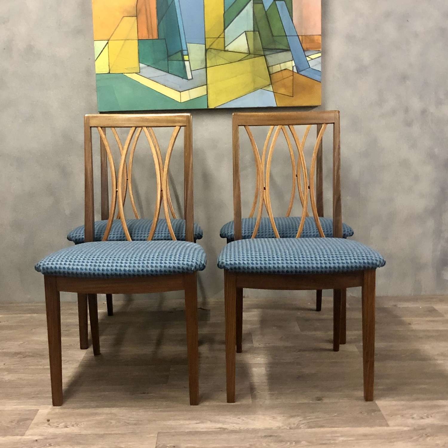 Set of 4 Gplan dining chairs reupholstered blue wool