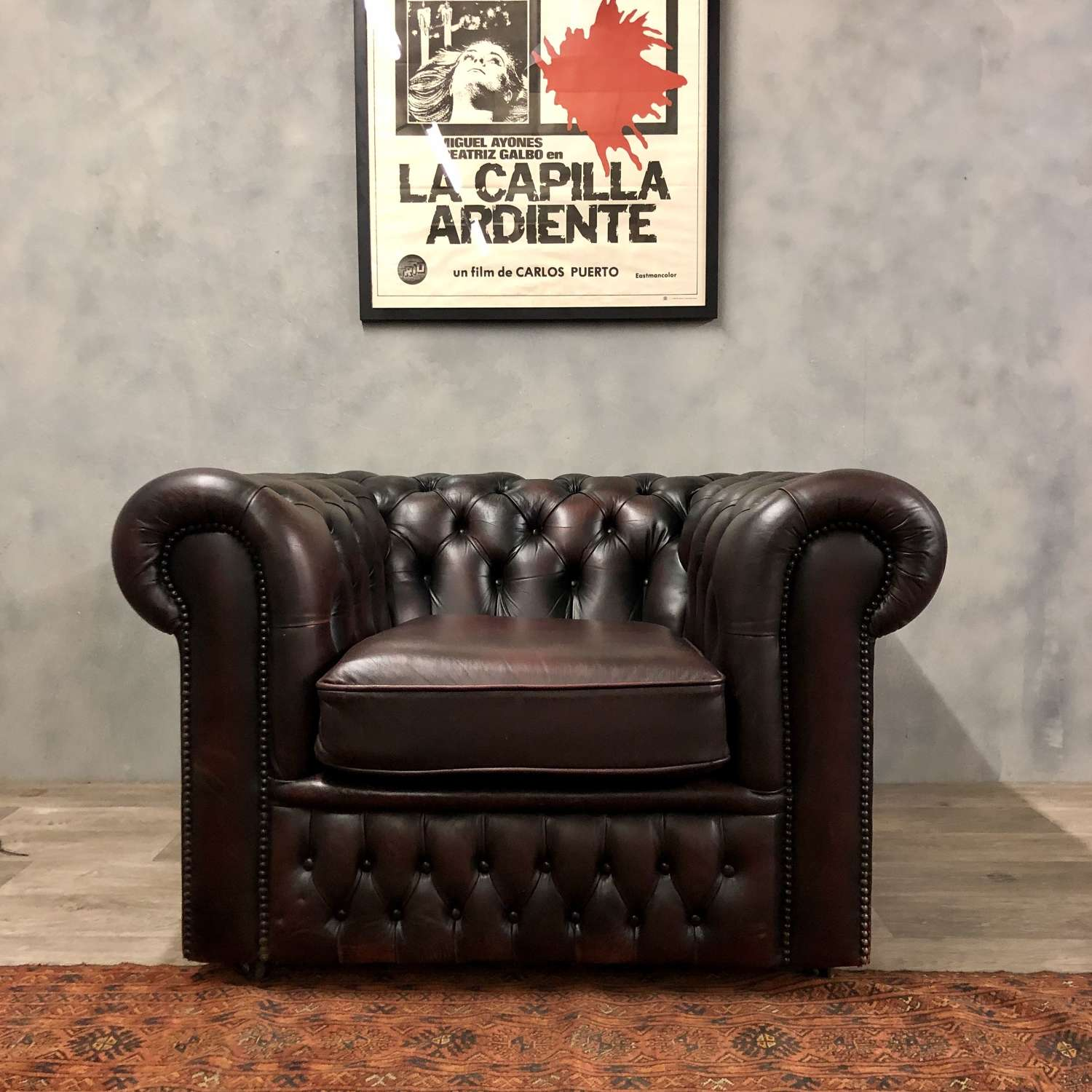 Classic vintage chesterfield chair in Oxblood