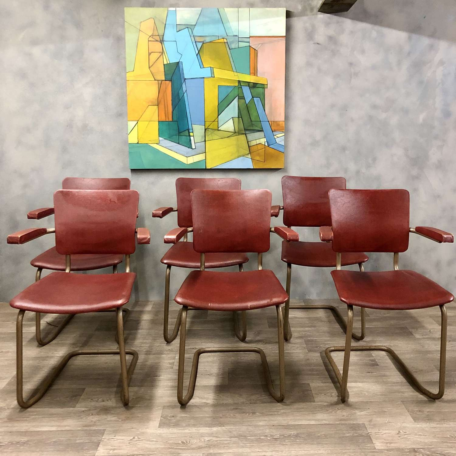 Vintage tubular steel and red vinyl chairs (3 available) French