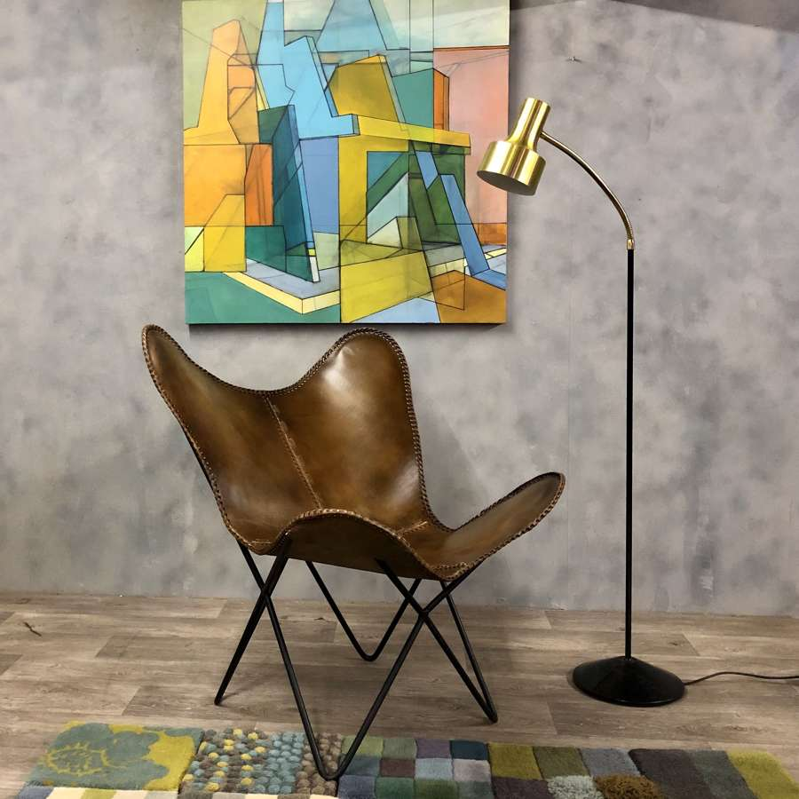 Conran style butterfly chair in tan leather