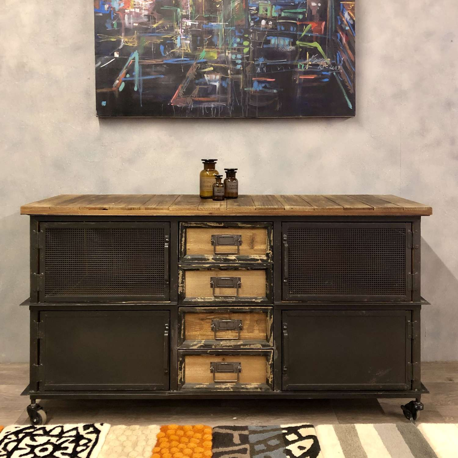 Industrial style media unit or sideboard