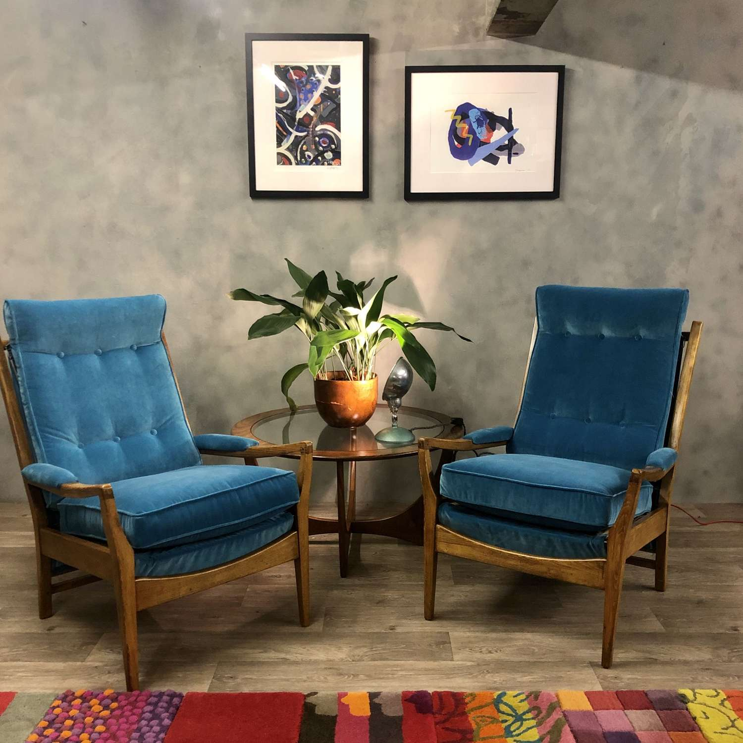 Midcentury lounge chairs (pair of) by Cintique in blue velvet