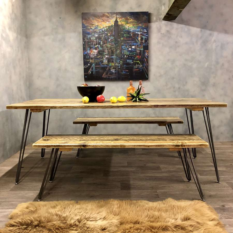Dining table benches reclaimed wood hairpin legs
