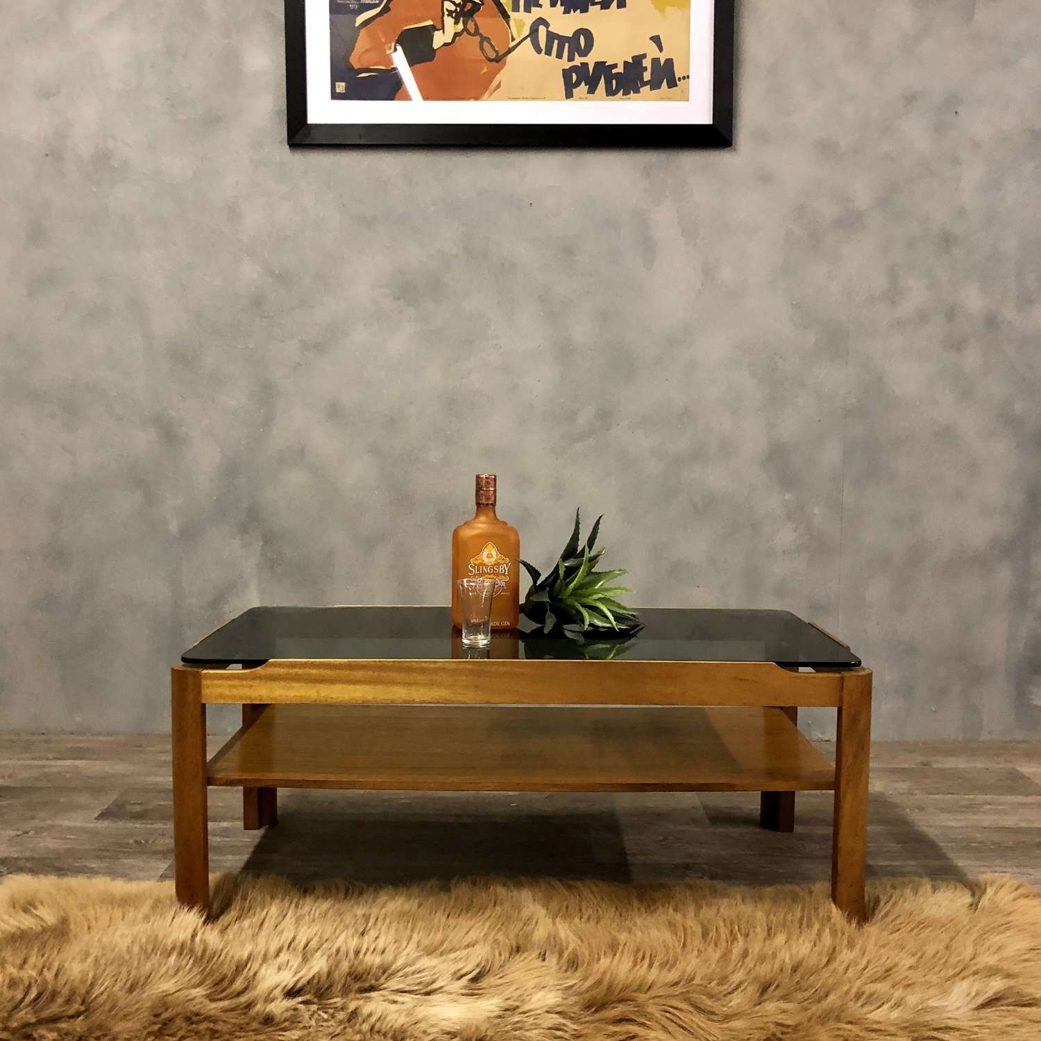 Midcentury smoked glass coffee table by Myer