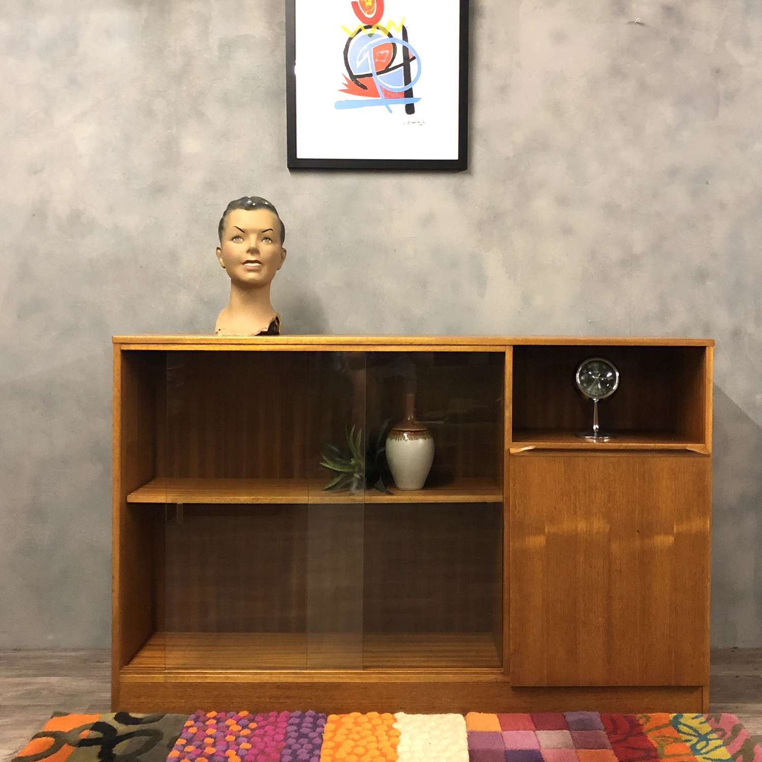 Midcentury teak and glass bookcase/cabinet