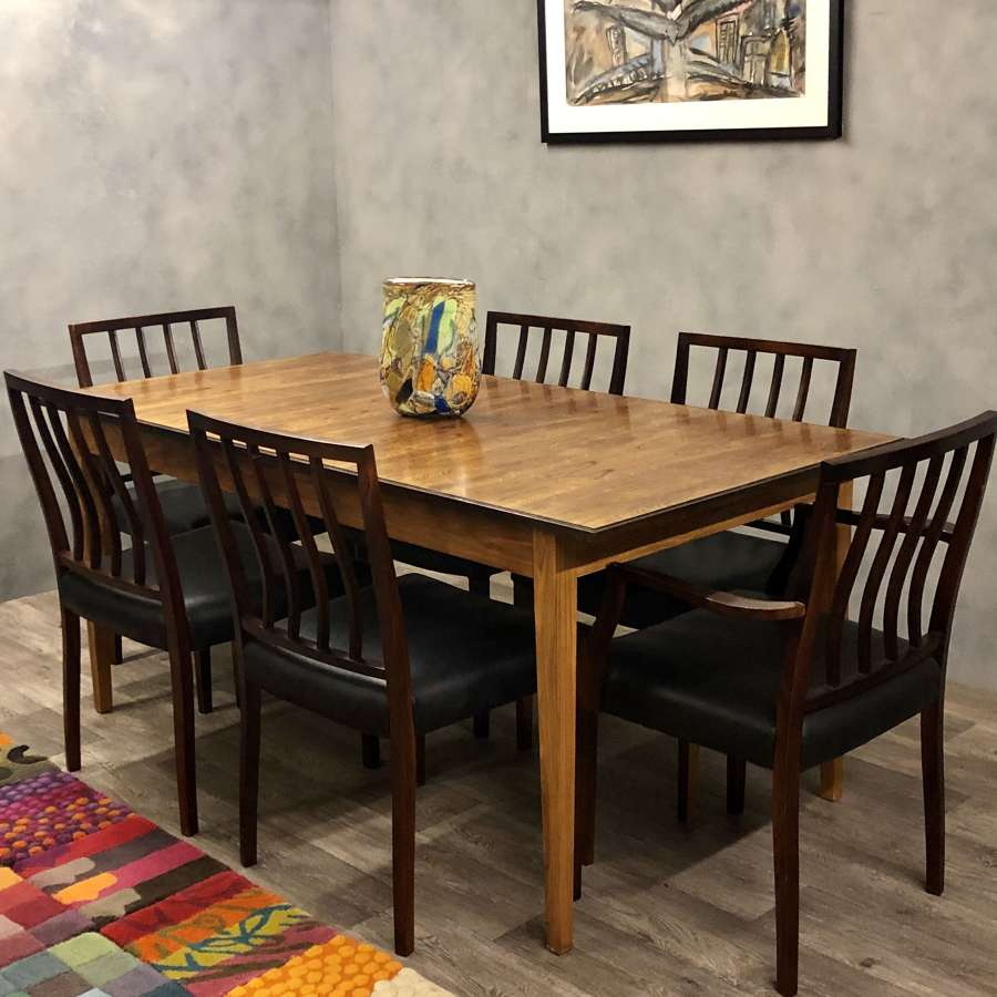 Archie Shine dining table & chairs rosewood