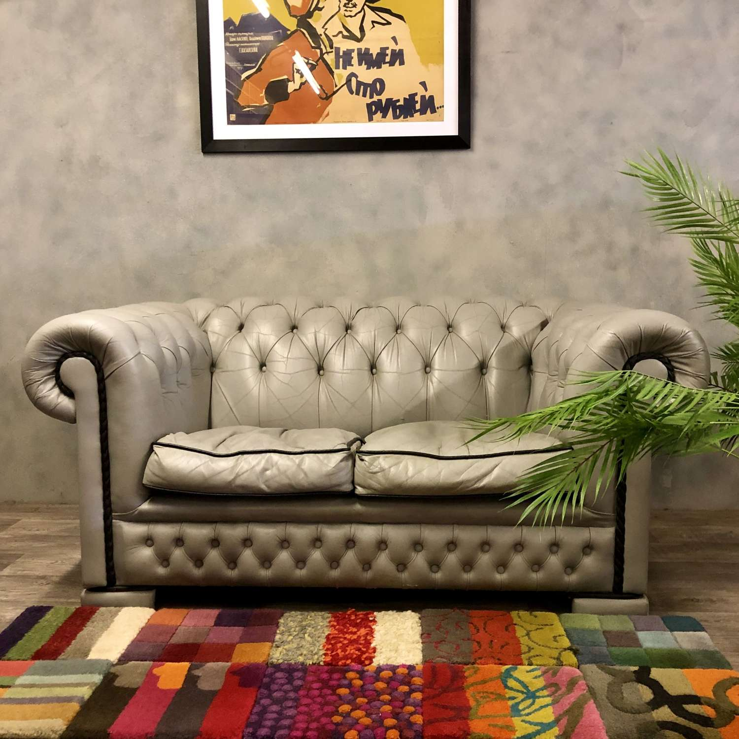 Vintage Chesterfield in grey leather