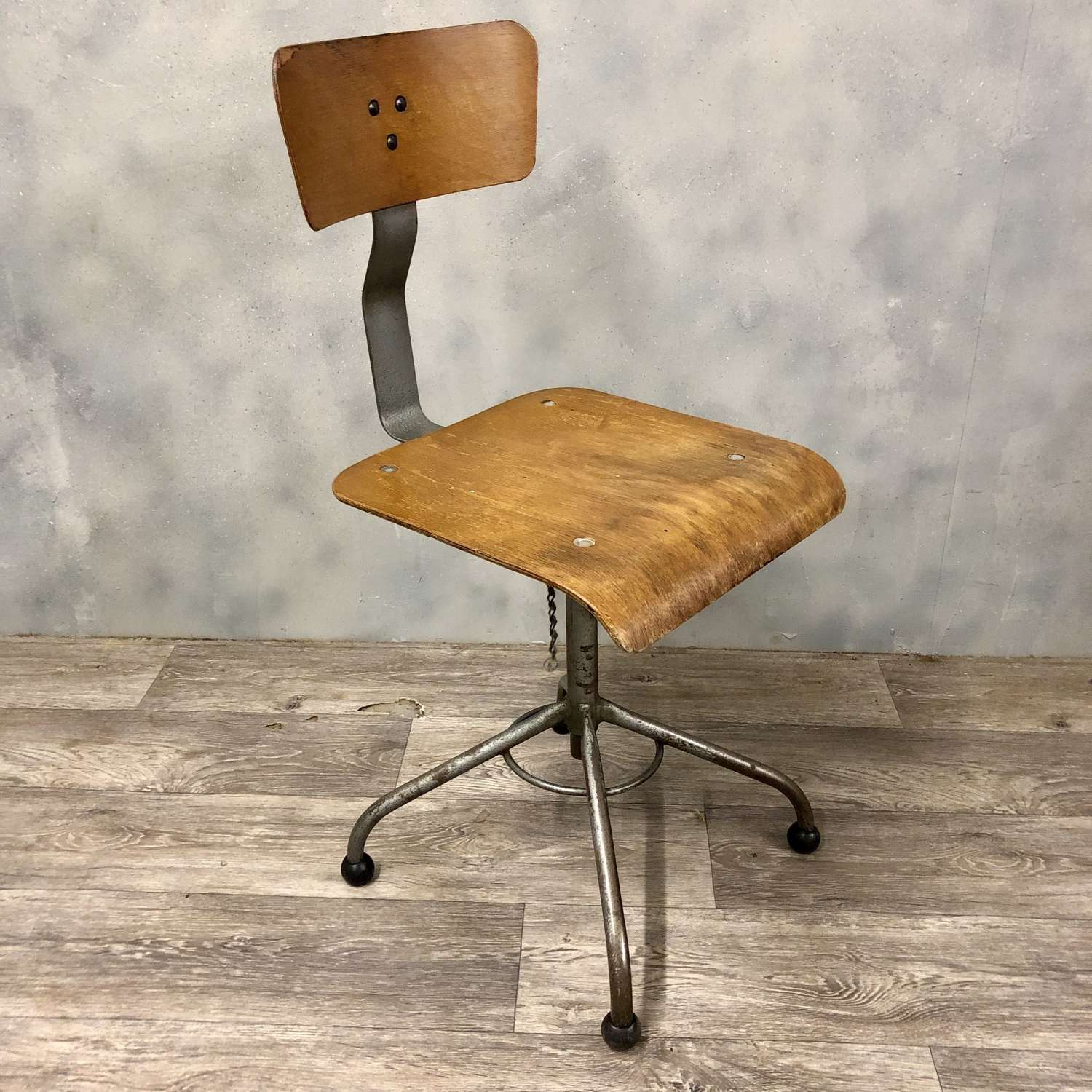 Vintage wood and metal industrial machinist factory chair