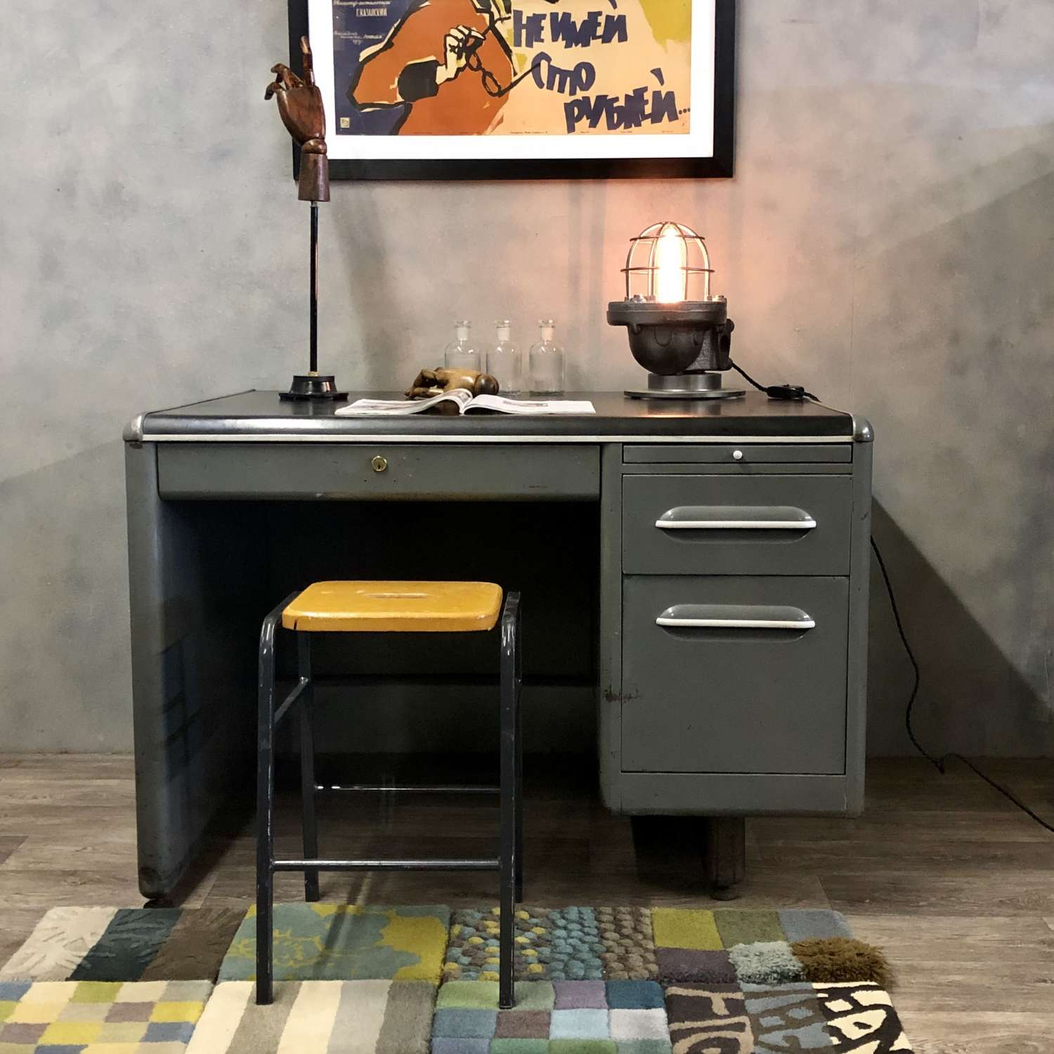 Industrial steel desk 1950s