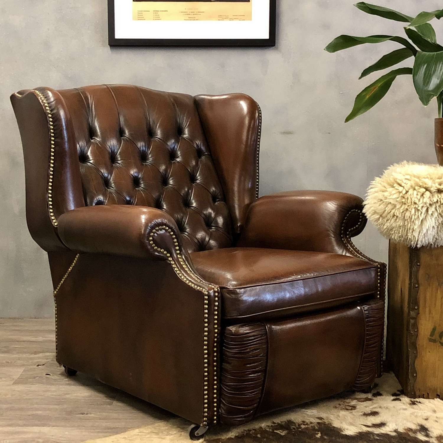 Chesterfield reclining leather vintage
