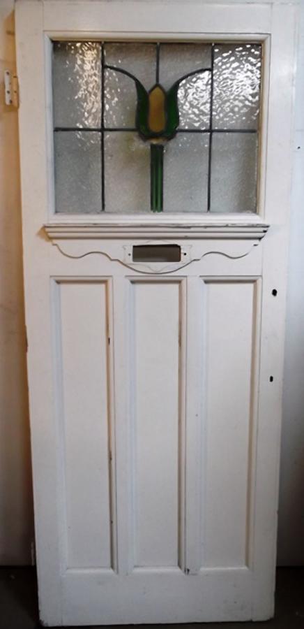 DE0366 An Edwardian Stained Glass Front Door with Art Nouveau Design