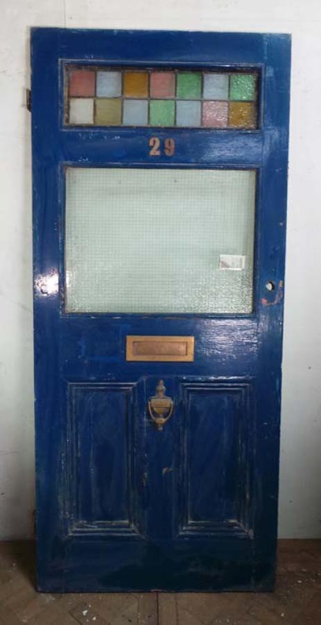 DE0606 LOVELY ORIGINAL VICTORIAN STAINED GLASS PINE DOOR