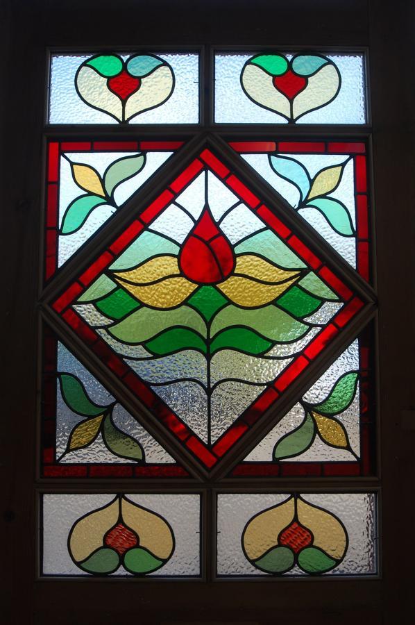 DE0681 STUNNING VICTORIAN STAINED GLASS PANELLED PINE DOOR