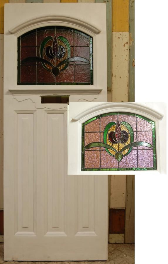 DE0741 Edwardian Front Door with Original Stained Glass