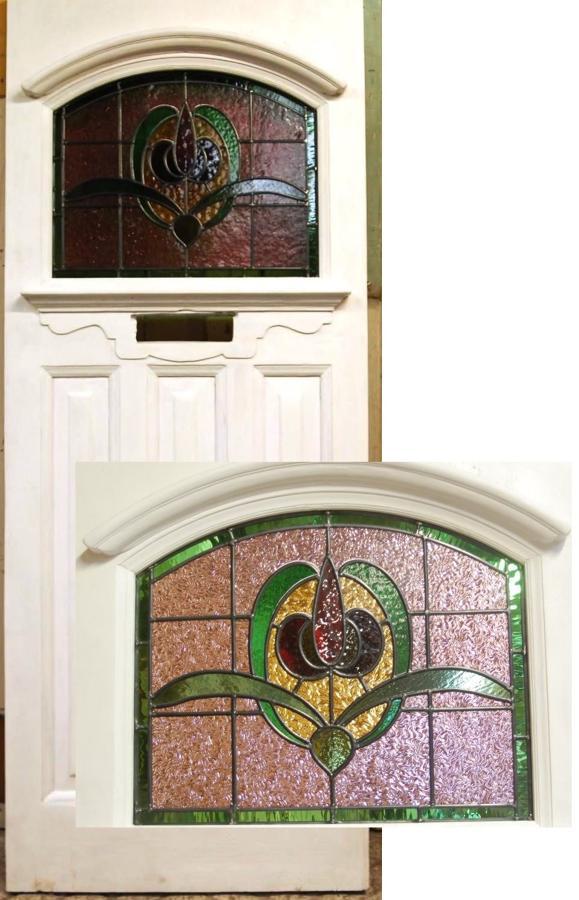 DE0757 Edwardian Front Door with Original Stained Glass