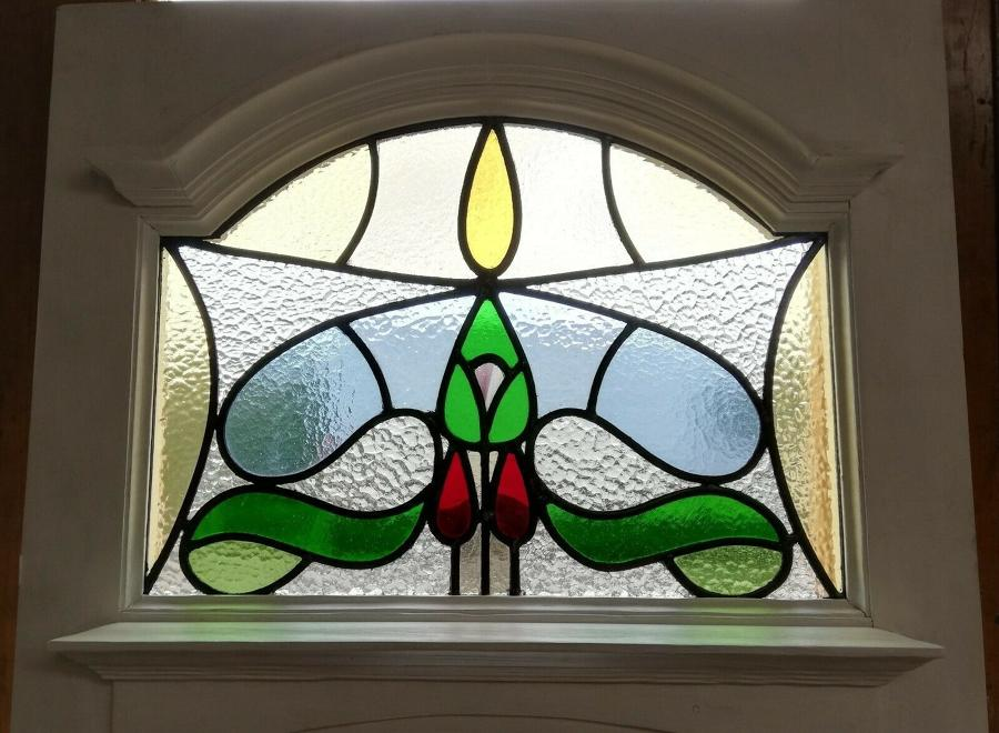 DE0801 EDWARDIAN FRONT DOOR WITH BEAUTIFUL STAINED GLASS PANEL