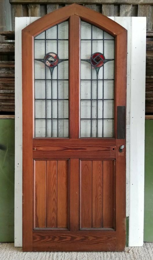 DB0659 ATTRACTIVE PITCH PINE STAINED GLASS EXTERNAL / INTERNAL DOOR