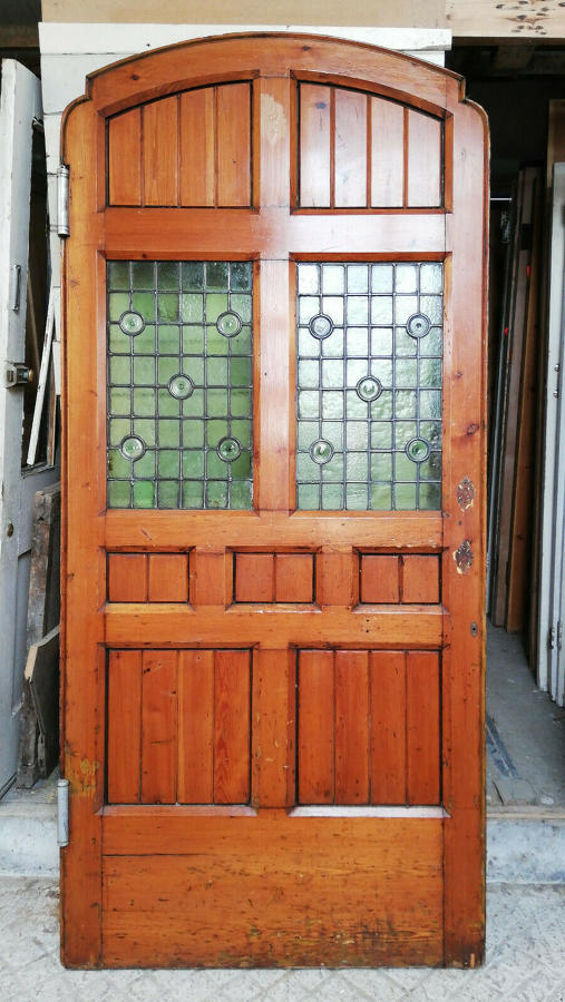 DB0665 ATTRACTIVE 1920'S PINE STAINED GLASS EXTERNAL / INTERNAL DOOR