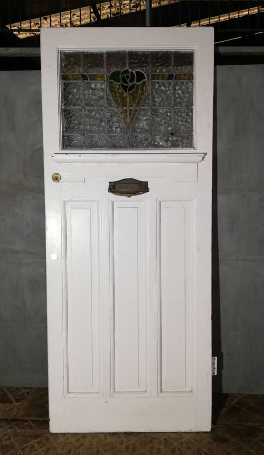 DE0827 EDWARDIAN FRONT DOOR WITH STAINED GLASS PANEL