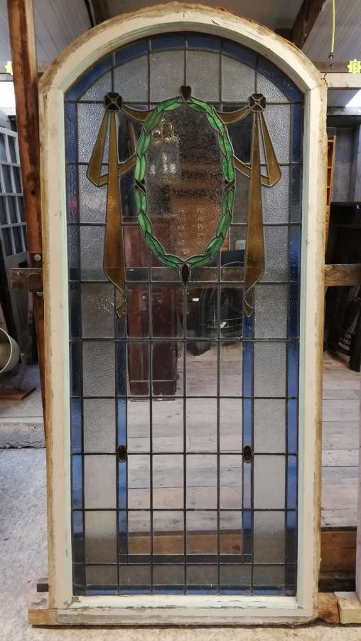 M1363 A PAIR OF VERY LARGE BEAUTIFUL STAINED GLASS WINDOWS C.1930