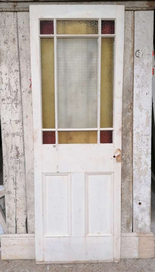 DI0717 RECLAIMED PINE CARDIFF DOOR WITH COLOURED GLASS