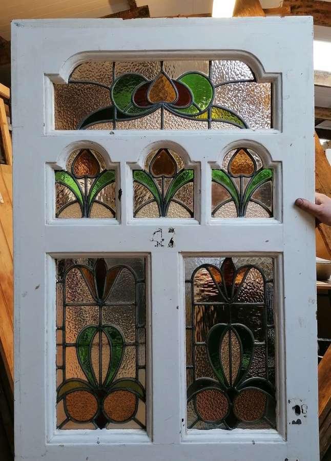DE0883 VICTORIAN PAINTED PINE STAINED GLASS FRONT DOOR
