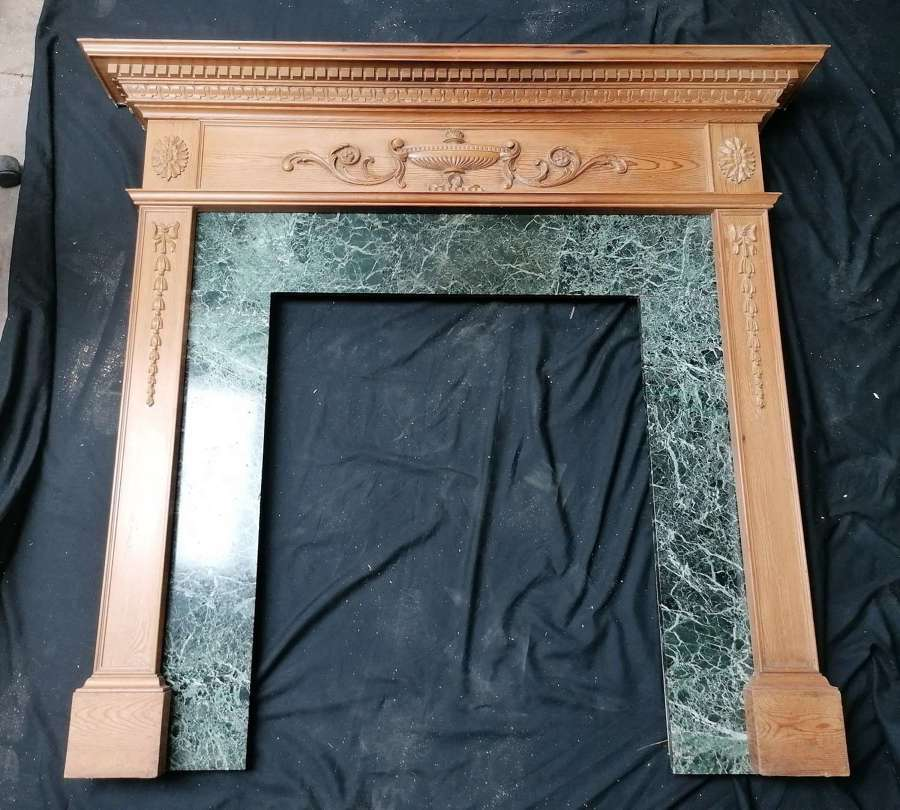 FS0164 A RECLAIMED PINE CARVED FIRE SURROUND WITH MARBLE SLIPS