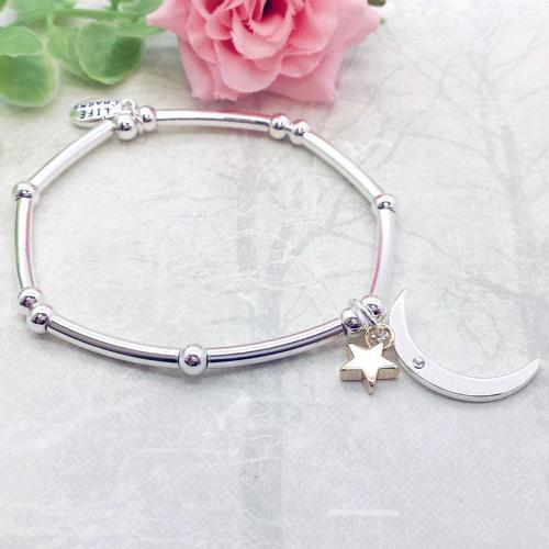 Moon & Star Charm Stacking Bracelet