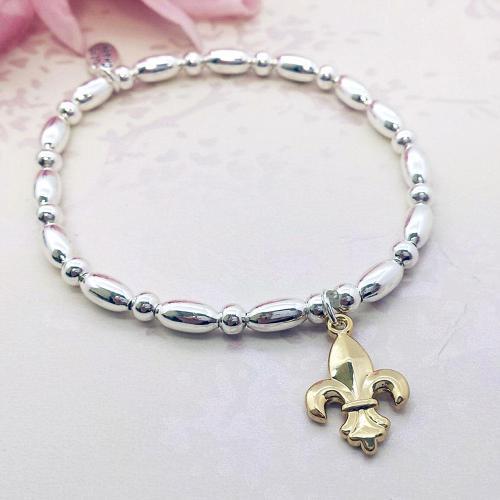 Fleur De Lys Charm Stacking Bracelet
