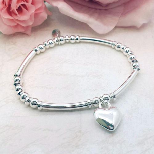 Love Heart Charm Stacking Bracelet