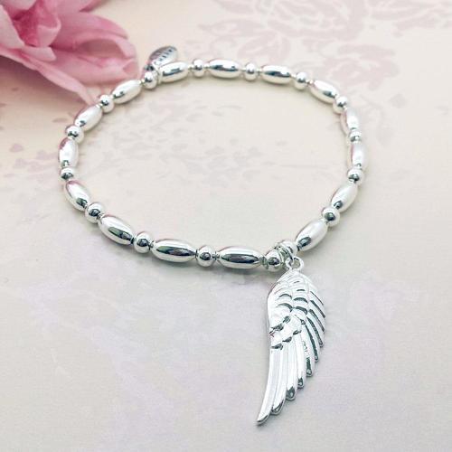 Angel Wing Charm Stacking Bracelet