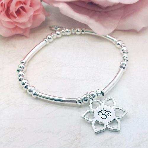 Lotus Flower 'Om' Charm Stacking Bracelet