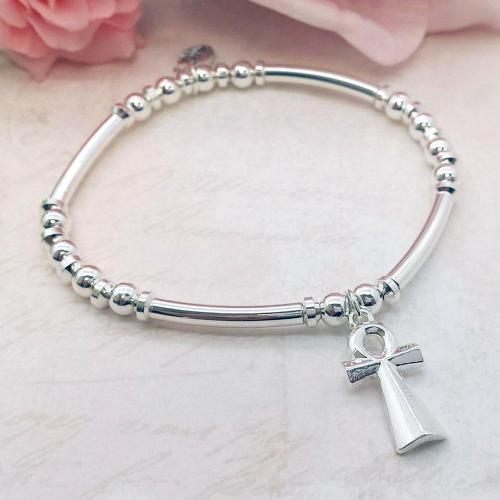 ANKH Cross Charm Stacking Bracelet