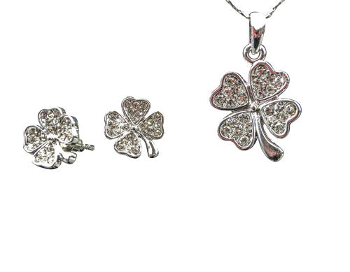 18ct White Gold Plated Crystal Four Leaf Clover Set