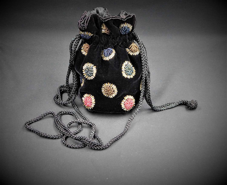 Velvet Beaded Bag by Ackery