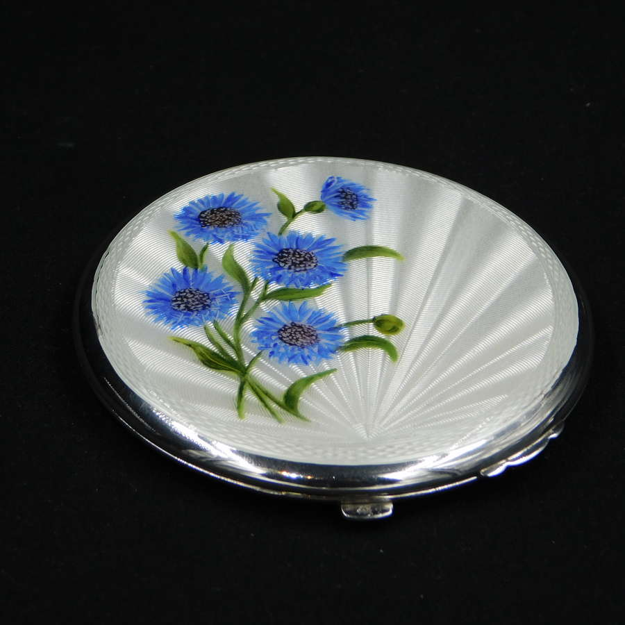 Silver and Guilloche Enamel Powder Compact