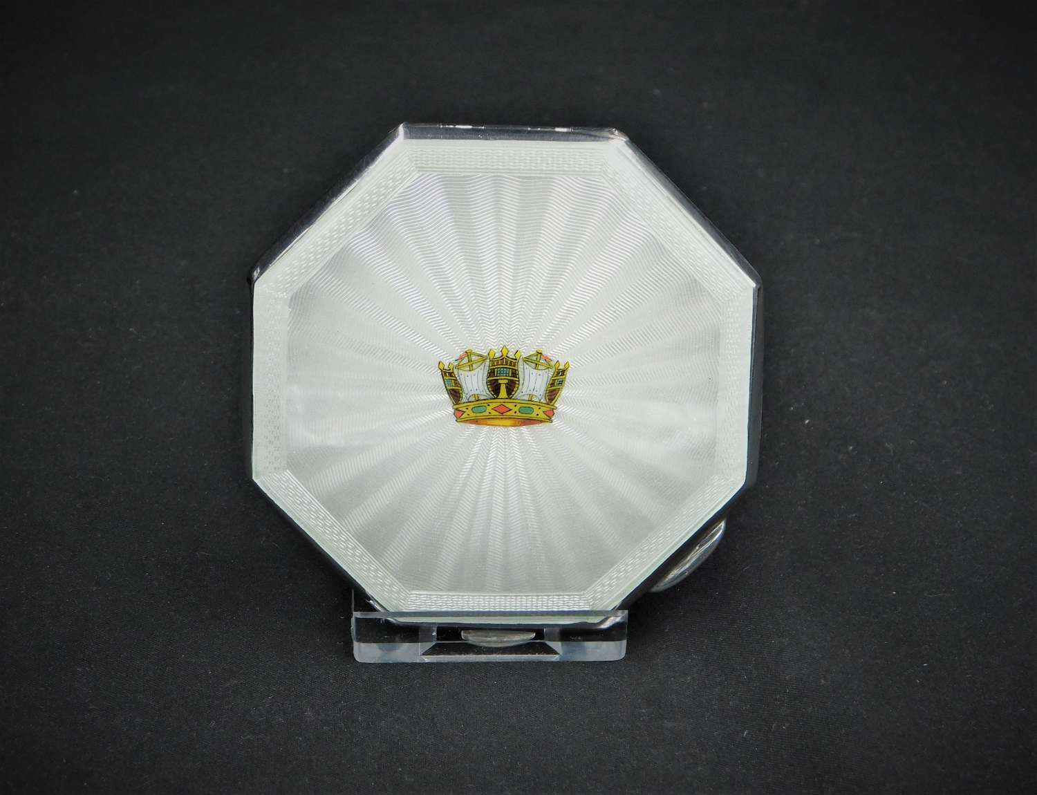 Silver and Guilloche Enamel Powder Compact 1955
