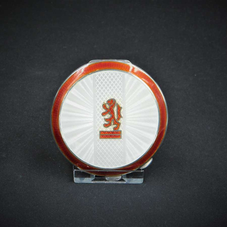 Silver and Guilloche Enamel Powder Compact 1949