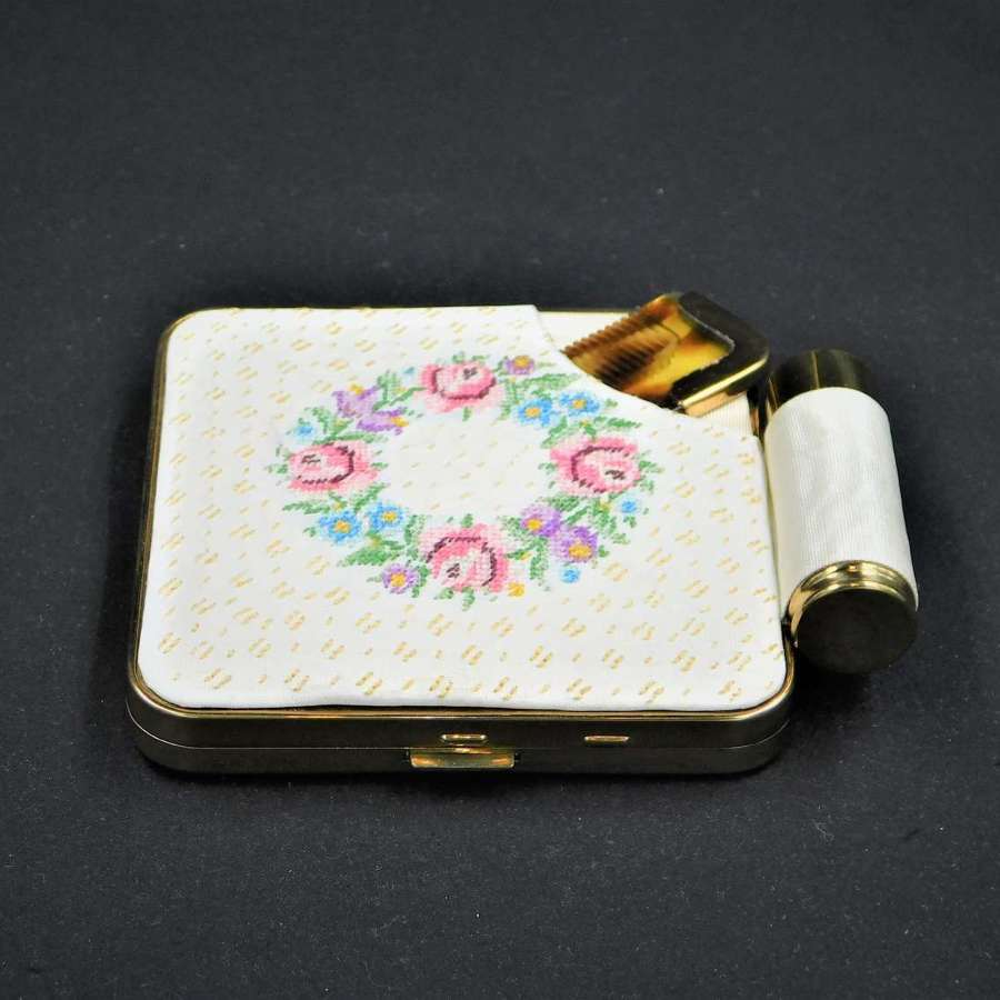 1950's Petit Point Compact and Lipstick Vanity