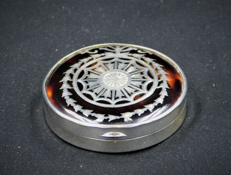 Silver and Tortoiseshell Powder Compact