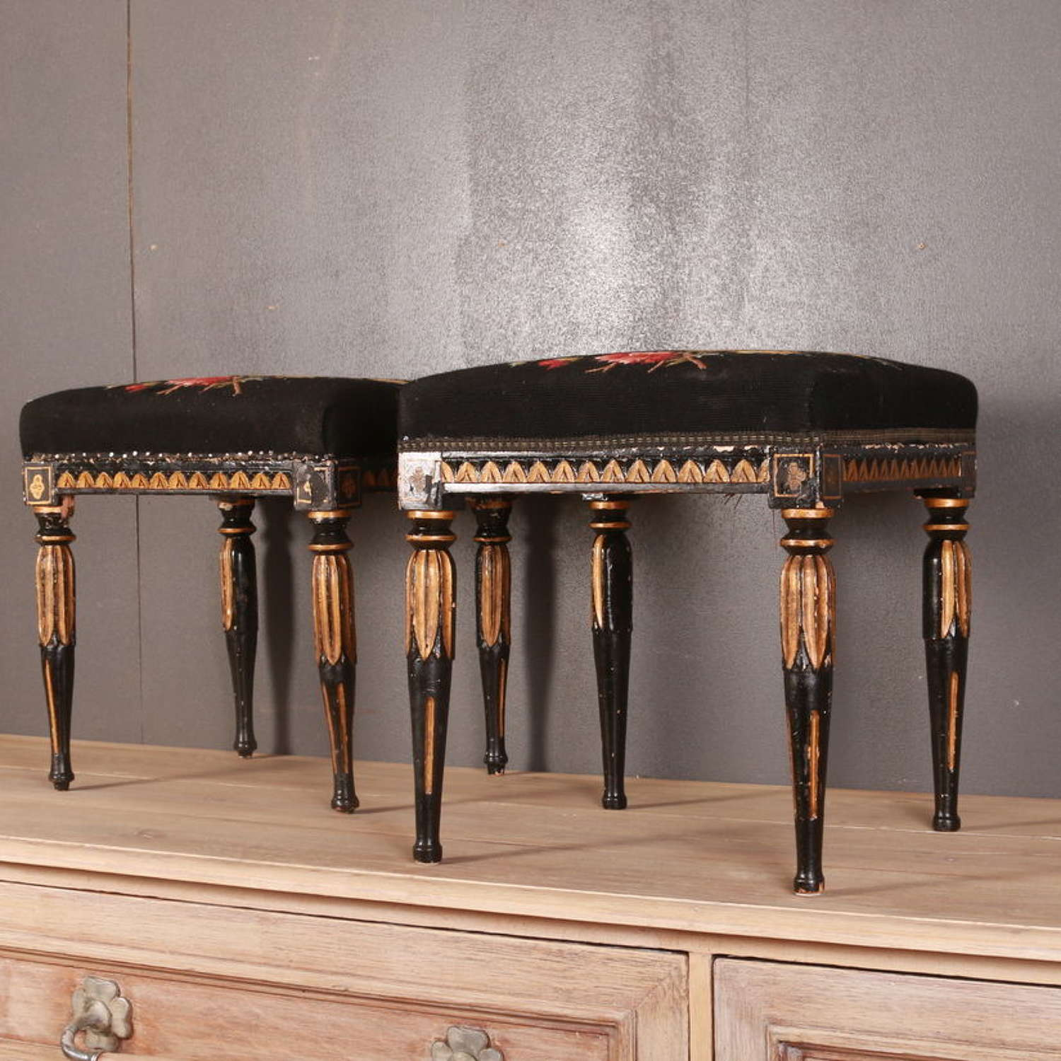 Set of 3 Gustavian Stools
