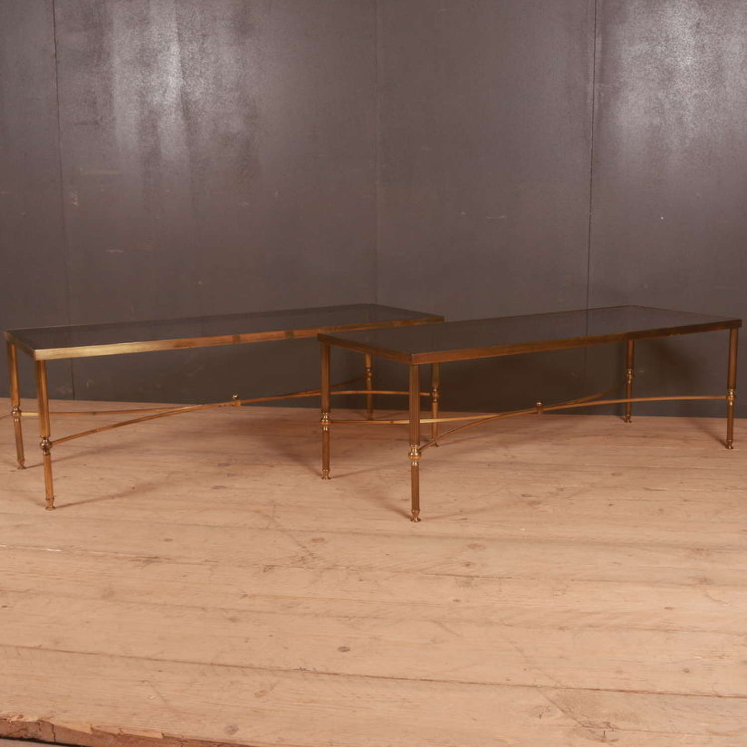 Brass and glass low tables