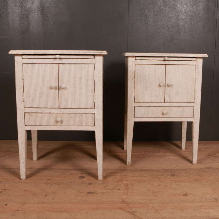 Pair of Swedish Style Bedside Cupboards